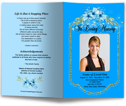 loral Glitter Funeral Program Template (Changeable Color)