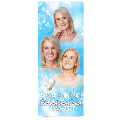 Funeral Banner 24 x 60 - Blue Sparkle