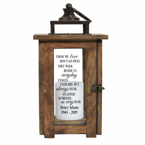 Those We Love Solid Wood Outdoor Memorial Lantern With Wax Candle