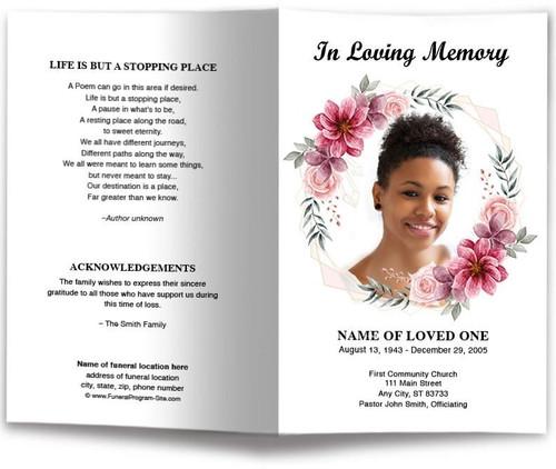 Flower Framed Funeral Program Template