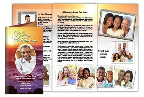 Twilight Trifold Funeral Brochure Template (Legal Size)