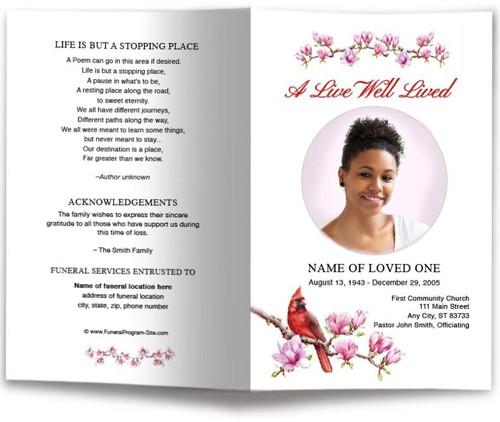 Red Cardinal Funeral Program Template