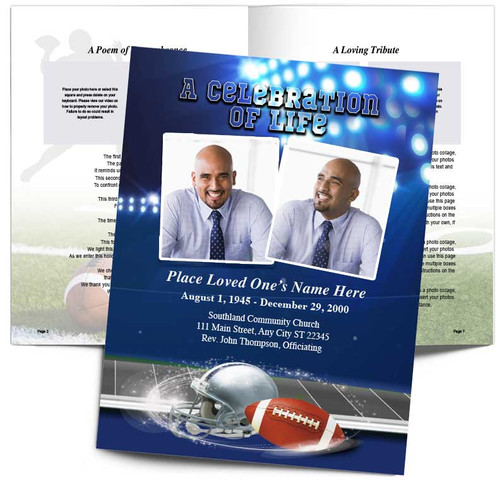 Navy Blue/Silver Football Team Color Funeral Booklet Template
