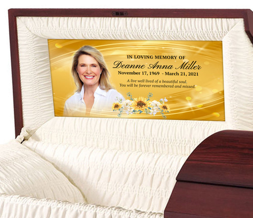 Custom Casket Panel Insert - Gold Wave Design