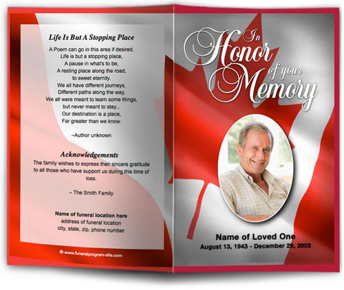 Canada Funeral Program Template