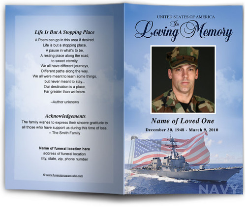 Navy Funeral Program Template