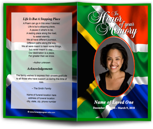 South Africa Funeral Program Template