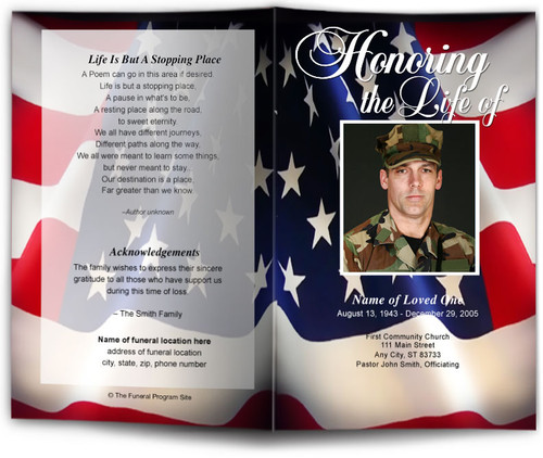 US Flag Funeral Program Template