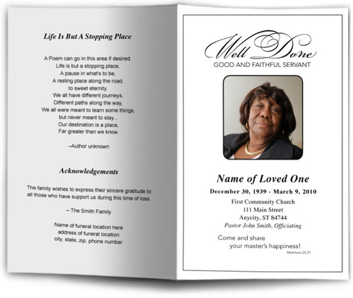 Faithful Funeral Program Template