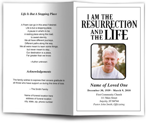 Life Funeral Program Template