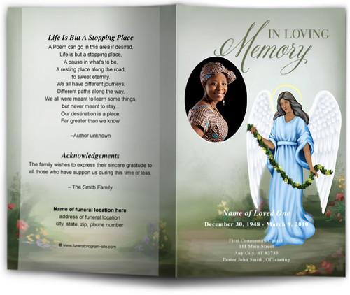 Charity Funeral Program Template dark skin