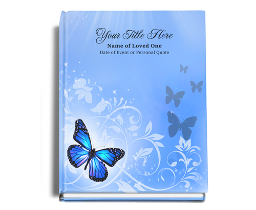 Butterfly Perfect Bind Funeral Guest Book 8x10