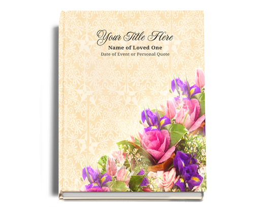 Golden Perfect Bind Memorial Funeral Guest Book 8x10