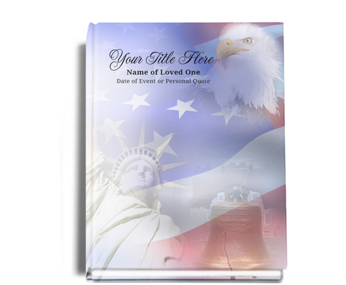 Patriot Perfect Bind Funeral Guest Book 8x10