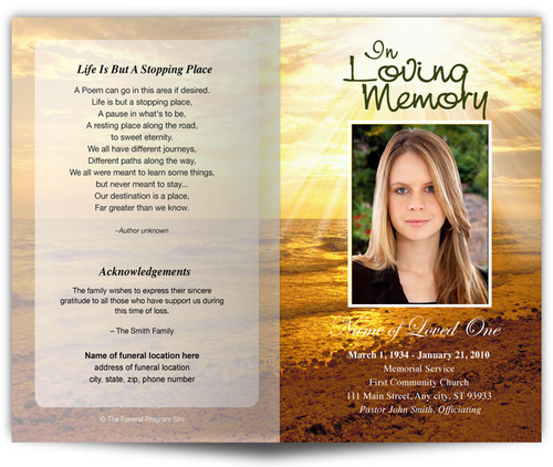 Shine Funeral Program Template