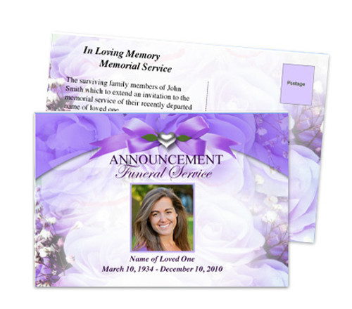 Amethyst Funeral Announcement Postcard Template