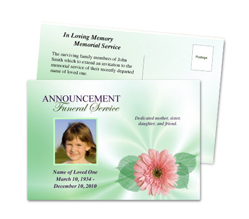 Blossom Funeral Announcement Template