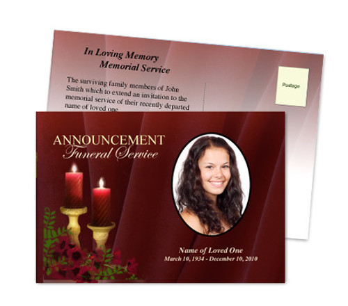 Candlelight Funeral Announcement Template