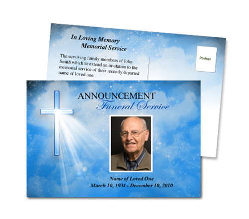 Heaven Funeral Announcement Template