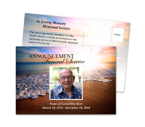 Radiance Funeral Announcement Postcard Template