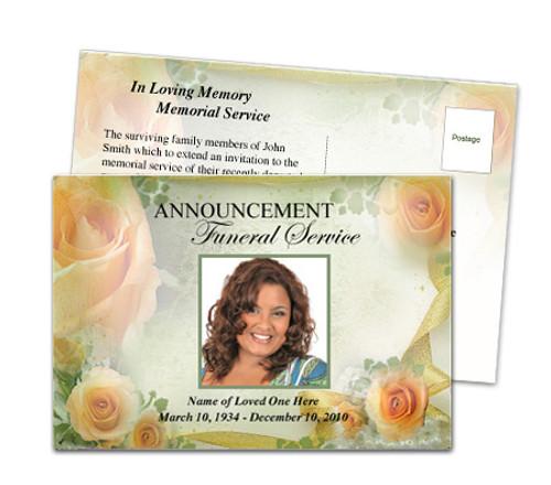 Rejoice Funeral Announcement Postcard
