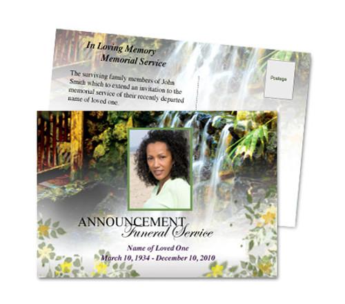 Serene Funeral Announcement Postcard