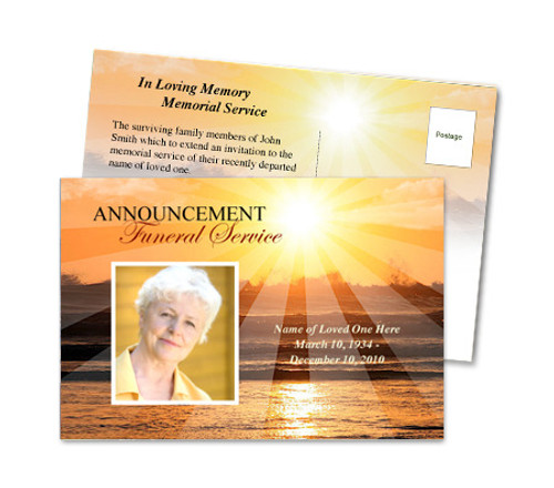 Sunrise Funeral Announcement Template