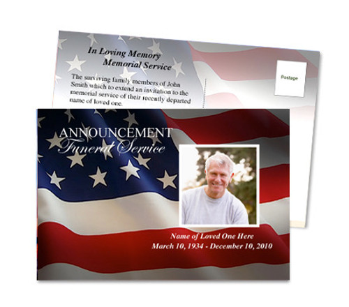 US Flag Funeral Announcement Template