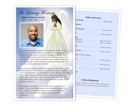Angel Half Sheet Funeral Flyer Template