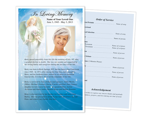 Angelic Half Sheet Funeral Flyer Template