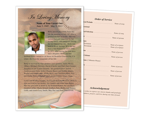 Baseball Funeral Flyer Half Sheets Template