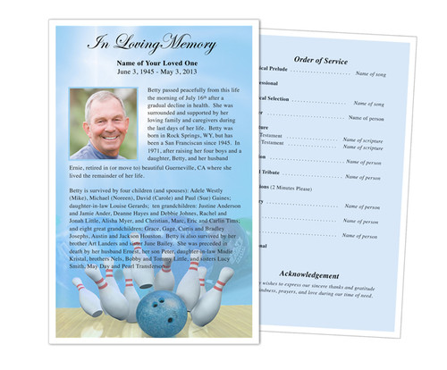 Bowling Funeral Flyer Half Sheets Template