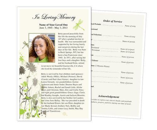 Dragonfly Funeral Flyer Half Sheets Template