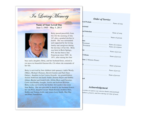 Dusk Funeral Flyer Half Sheets Template