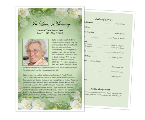 Garden Funeral Flyer Half Sheets Template