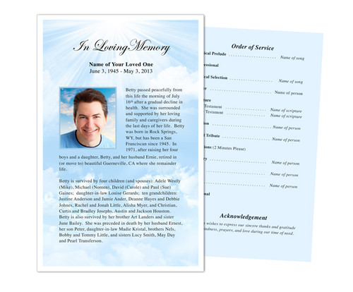 Skyblue Funeral Flyer Half Sheets Template