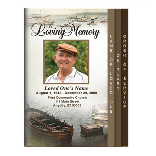 Fishing 8-Sided Graduated Funeral Program Template