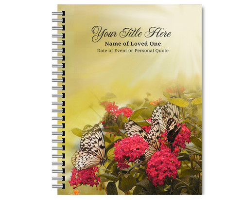Bouquet Spiral Wire Bind Memorial Guest Book
