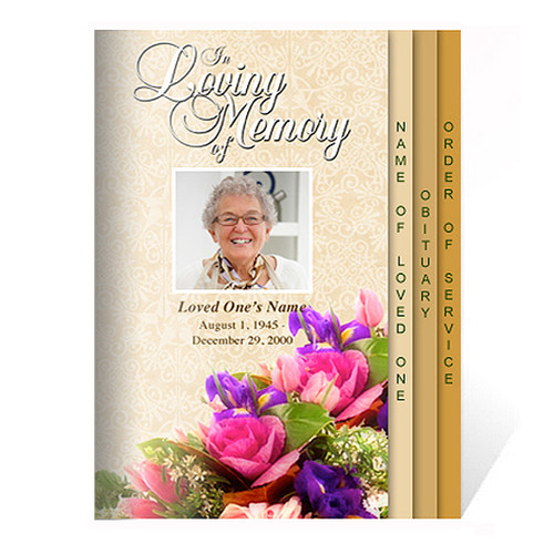 Golden 8-Sided Graduated Funeral Program Template