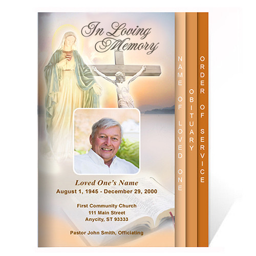 Vision 8-Sided Graduated Funeral Program Template inside view