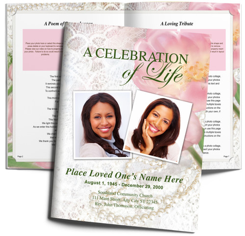 Pearls DIY Large Tabloid Funeral Booklet Template
