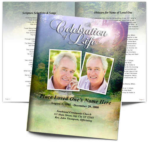 Serenity DIY Large Tabloid Funeral Booklet Template