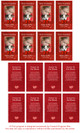 Red DIY No Fold Pet Memorial Card Templates inside view