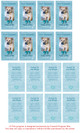 Teal DIY No Fold Pet Memorial Card Template inside view