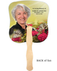 Bouquet Cardstock Memorial Church Fans With Wooden Handle with photo back