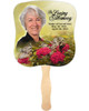 Bouquet Cardstock Memorial Church Fans With Wooden Handle photo front