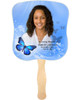 Butterfly Cardstock Memorial Church Fans With Wooden Handle front photo