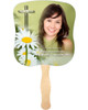 Daisy Cardstock Memorial Church Fans With Wooden Handle front photo