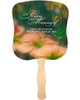 Floral Cardstock Memorial Church Fans With Wooden Handle front