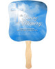Heaven Cardstock Memorial Church Fans With Wooden Handle front
